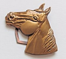 Horse Head Medallion or Button Cover, Scarf Charm, Bronze Vintage Jewelry