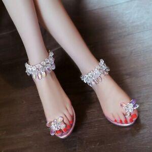 Women Rhinestone Toe Ring Ankle Strap Buckle Slingback Sandals Flat Beach Shoes