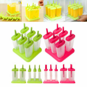 DIY Pop Frozen Mold 6 Cell Ice Cream Popsicle Maker Lolly Mould Tray Kitchen