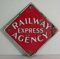 ORIGINAL 1920s RAILWAY EXPRESS AGENCY ENAMEL PORCELAIN ADVERTISING SIGN