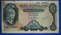 "1961 British Bank of England £5, Banknote, O'Brien Prefix ""J69"" [20652]"
