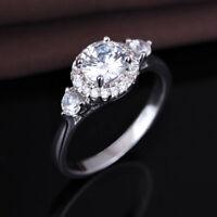 Three Stone Ring: Genuine 925 Sterling silver Engagement Wedding Ring, Rings