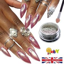 ROSE GOLD MIRROR CHROME POWDER 3gr EFFECT NAILS ART PIGMENT SILVER UK (R)