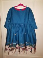 Girls Christmas Joules Dress - Sleigh Ride Snow Scene - Age 5 110cm Worn Twice