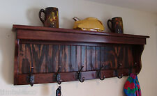 "Custom 48"" Handcrafted Wood Coat Rack 8 Hooks, Wall Shelf Key, Red Mahogany or"