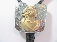 UNUSUAL SILVER AND GOLD TONE ETCHED SOUTH WESTERN COUNTRY CAMEO BOLO TIE LADY