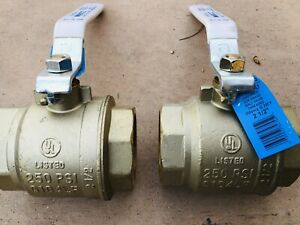 """TWO (2) NEW 2-1/2"""" BRASS BALL VALVE NIBCO T-FP600A-LF THREADED FULL PORT 300 Psi"""
