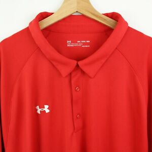Under Armour Mens Golf Polo Shirt 5XL Performance Stretch Loose Fit Red
