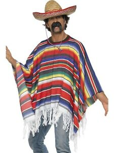 Mens Mexican Spanish Poncho Costume Cowboys Indians Wild West One Size Adult New