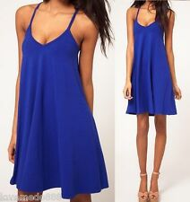 Sexy New Womens Deep V open back spaghetti strap cross casual Dress BLUE Large