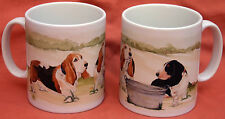 BASSET HOUND DOG MUG OFF TO THE DOG SHOW WATERCOLOUR PRINT SANDRA COEN ARTIST