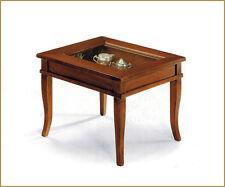 Tavolino a bacheca quadrato arte povera con piano in vetro, soggiorno, salotto