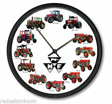 New MASSEY FERGUSON Tractor Wall Clock 12 Farmer Tractors Wheel Dial Black Logo