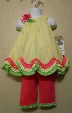 Rare Editions Infant Girls Two (2) Piece Dotted Swiss Dress Set Yellow 18M NWT