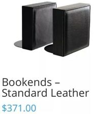 Smith Mcdonald Corp Modern Black Leather Bookends Luxury Collectible