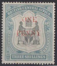 g757) BCA Territory (Nyasaland) 1897. MM. SG 53. One penny on 3/- c£13+