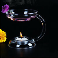 Aramis Glass Double-deck Candle Holder Candlestick Decor With Handle Hot
