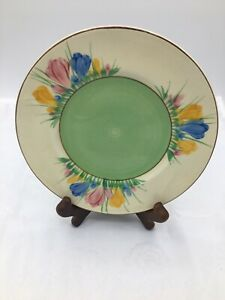 Spring Crocus Clarice Cliff Plate Designed in 1928 Art Deco Original Free UK P&P