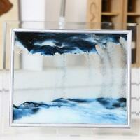 1pcs Blue Moving Sand Glass Picture Home Office Table Decor Birthday  17*13CM