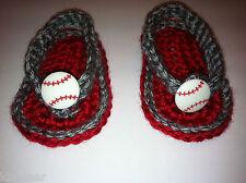 BABY SANDALS FLIP FLOPS Slip On SHOES CROCHET Sz 0-3 Mo Red Gray Baseball