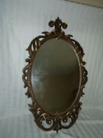 "Vtg Large Ornate Oval Gold Wall Mirror ~Hollywood Regency 28"" X  16"""