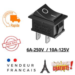 Interrupteur à bascule bouton poussoir 2 positions ON / OFF 250V 6A encastrable
