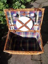 VINTAGE 1990's WICKER PICNIC BASKET WITH UTENSILS