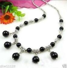 LOVELY NATURAL BLACK AGATE ONYX ROUND BEADS PENDANTS & TIBET SILVER NECKLACE 18""