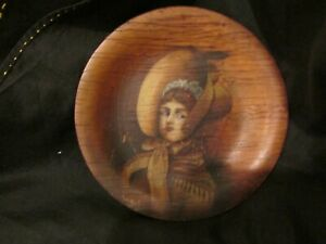 S ANTIQUE AAFA EARLY HAND PAINTED PORTRAIT GIRL BONNET ON BIRDSEYE MAPLE PLATE