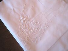 Beautiful Antique/Vintage White Grapevine Embroidered Pillow Sham-Hemstitch Too!