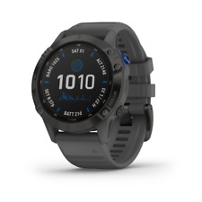 Garmin fenix 6 Pro Solar Edition GPS Smartwatch, Black with Slate Gray Band