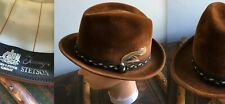 Vtg 50s Stetson Sovereign Brown Wool Velour Felt Mens Fedora Hat Braid Feather 7