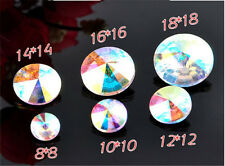 30pcs 16mm Round rhinestone crystal bead point back cut glass Multicolor diy