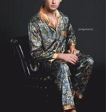 Xmas GIFT Mens Silk Satin Pajamas US 3XL  2XL XL L M Pyjamas Lounge Pants Shirt
