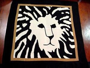 "ANNE KLEIN Classic ICONIC LION Silk Designer Scarf BLACK WHITE 34"" Square NICE!"