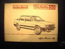 LIBRETTO DI USO E MANUTENZIONE PER ALFA ROMEO GIULIETTA 2.0  ANNO 1983