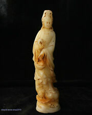20.5cm China Natural Old Jade hand carved Kwan-yin Buddha Statue Sculpture AIQO