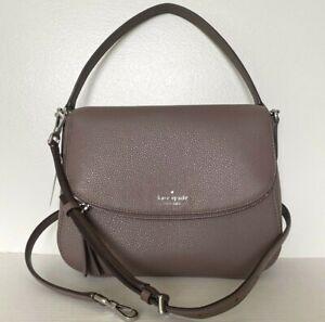New Kate Spade Jackson Medium Flap Shoulder bag Leather handbag Brown stone