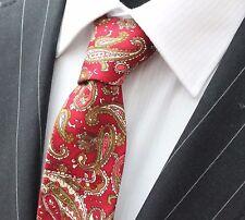Tie Cravatta Sottile Rosso Scuro Con Marrone e Verde Paisley cotone di alta qualità T6153