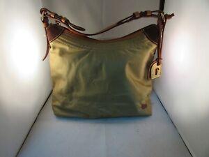 Dooney Bourke Tan Nylon With Brown Leather Trim Shoulder Bag Hand Bag