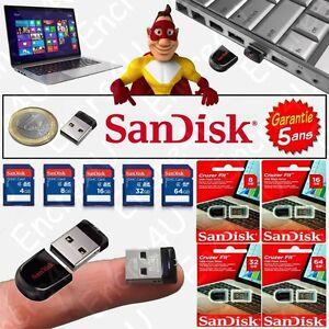 Carte SD ou Clé USB 8 / 16 Go Gb Giga SANDISK ou TOSHIBA - Type Nano Mini Dongle