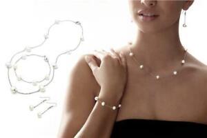 Classic Genuine Freshwater Pearl Tri-Set Necklace Earrings Bracelet jedd