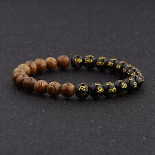 8mm Tibetan Black Agate & Wooden Bead Carve Mantra Om Mani Hum Amulet Bracelets