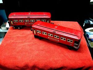 VINTAGE LIONEL 1930'S PASSENGER/OBSERVATION PULLMAN CARS- RED- #2600 AND 2601
