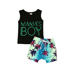 US Toddler Baby Boy Casual Clothes Letter Tops T-Shirt Shorts Summer Outfits Set