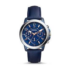 NWT FOSSIL Gwynn ES4131 Ladies Blue Dial Leather Strap Chronograph Watch $155