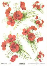 Rice Paper for Decoupage Scrapbooking Poppy Red Flowers A4 ITD R955