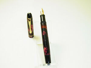Vintage OSMIA 661 pistonfiller red marbled fountain pen 14ct flexy F nib