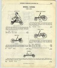1917 PAPER AD Toy Kid's Hand Cars Irish Mail Gendron Crank Gear Drive TANDEM