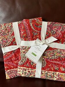 Set of 2 Pottery Barn Sweeney Paisley quilted standard shams multi New Red